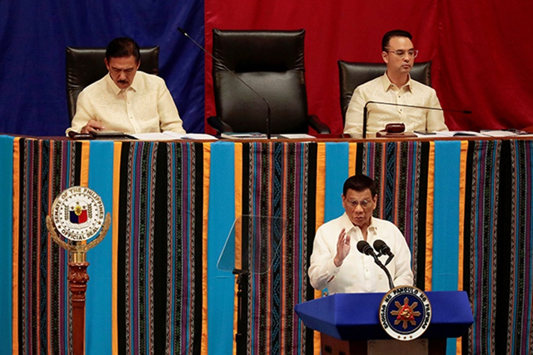Philippine President Rodrigo Duterte speaks during his fourth State of the Nation Address at the Philippine Congress in Quezon City