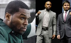 Rapper 50 Cent, Floyd Mayweather Jr, Manny Pacquiao